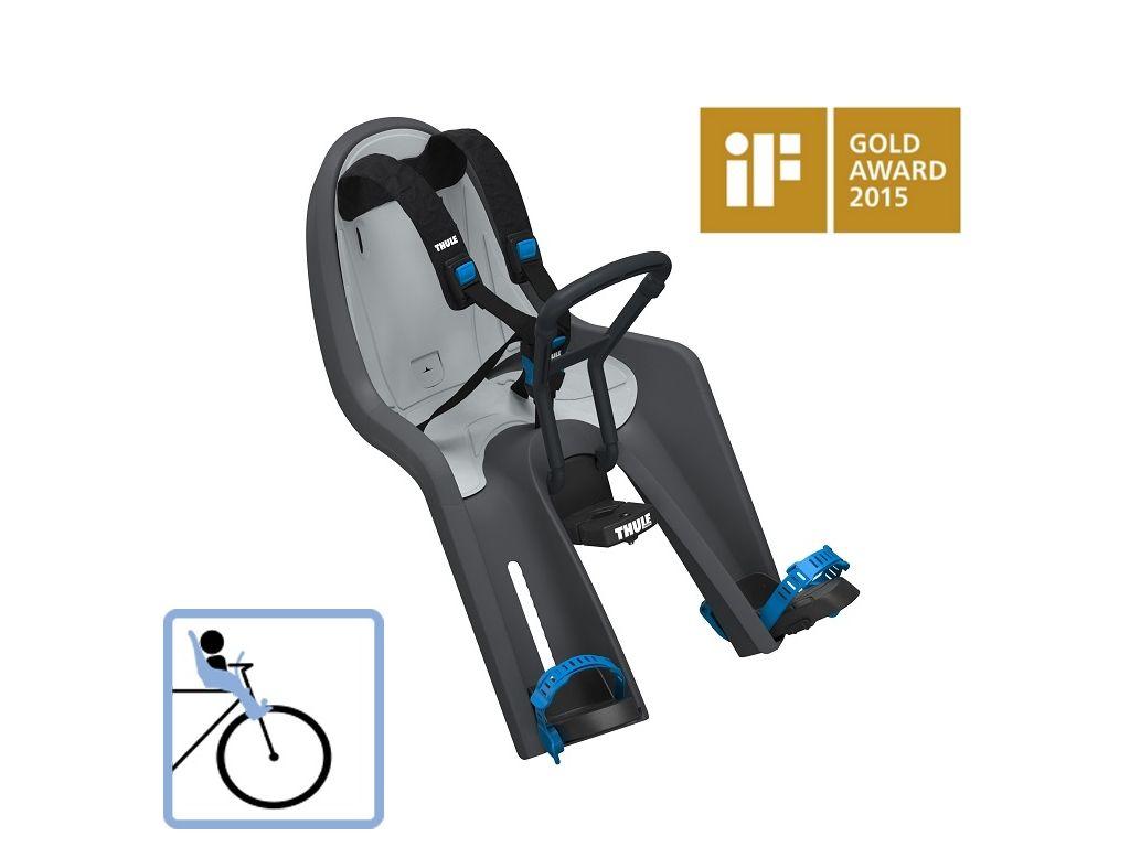 Dječja sjedalica prednja za upravljač bicikla Thule RideAlong Mini tamnosiva/crna