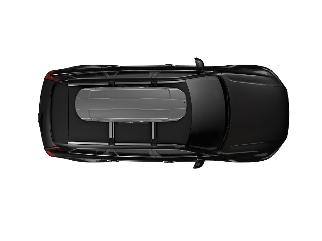 Stylish and spacious roof-mounted cargo box, optimized for ease of use.