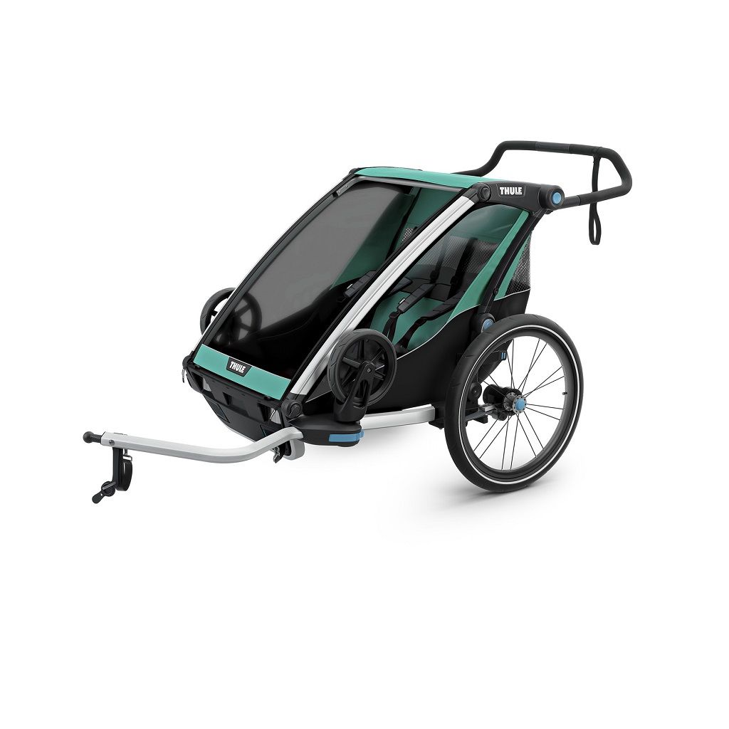 Thule Chariot Lite 2 zeleno/crna dječja kolica za dvoje djece