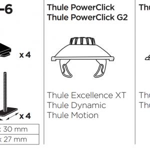 Thule T-track Adapter 696-6 adapter za prihvat krovne kutije u žlijeb šipke 24mm 3