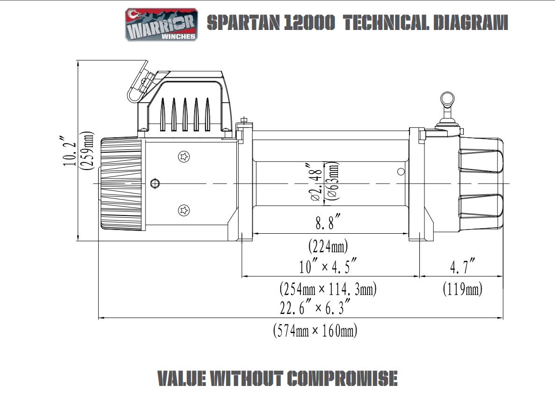 Vitlo Spartan Warrior 12000, 12V, 5.443kg sa sajlom, vodilicom i žičnim daljinskim 6