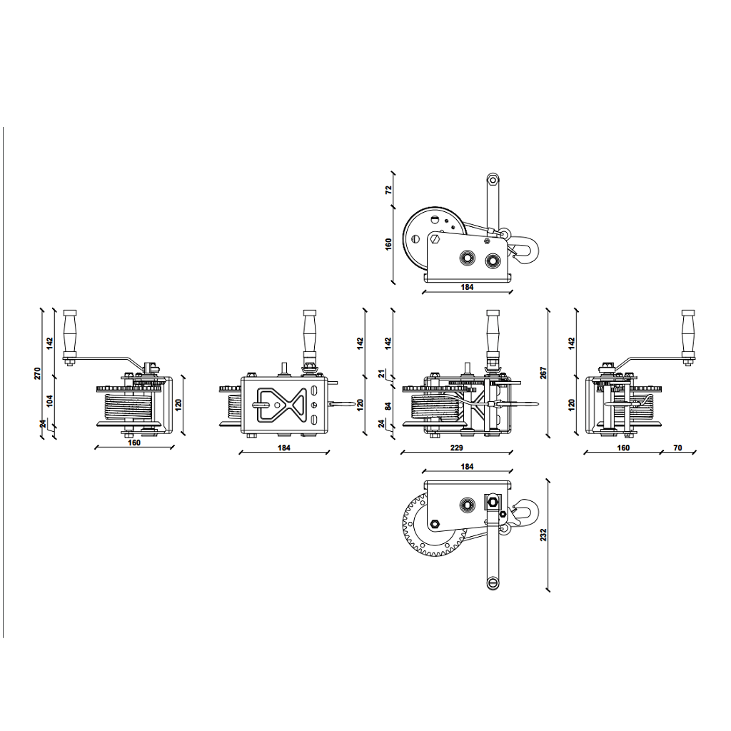 Dragon ručno vitlo DWK-25V, 1133 kg sa čeličnom sajlom 10 m, dvije brzine 8