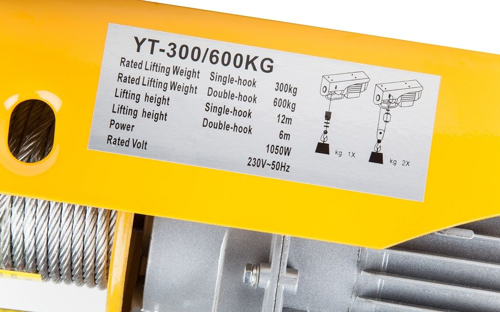 Dragon dizalica vitlo - industrijsko vitlo DWI 300/600 kg, 230 V, čelična sajla 12m/6m