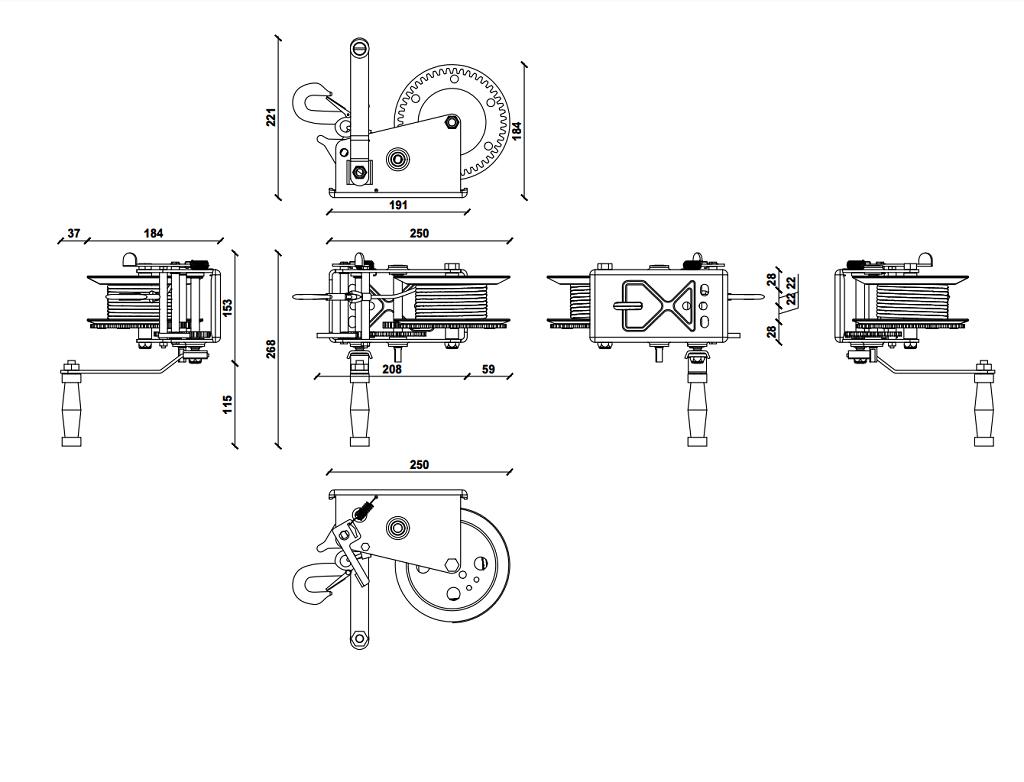 Dragon ručno vitlo DWK-35V, 1.588 kg sa trakom 8 m, dvije brzine 7