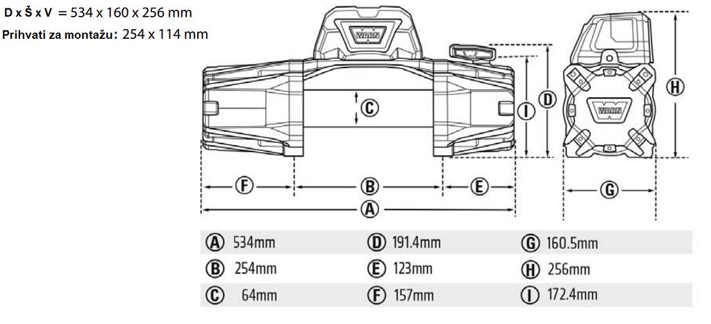 Premium vitlo Warn VR EVO 12-S, 12V, 5.443kg sa sintetskim užetom, vodilicom i žičnim i bežičnim daljinskim 8