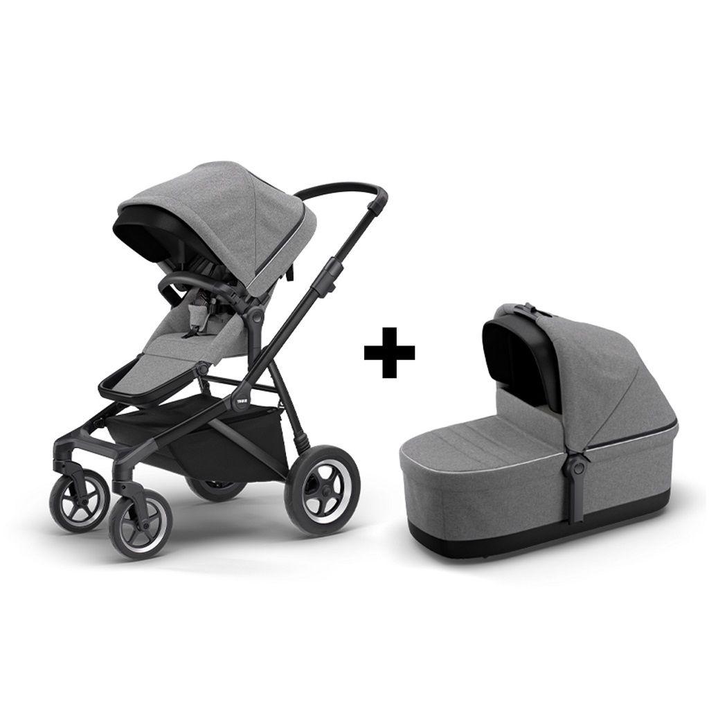 Komplet Thule Sleek dječja kolica siva s crnim okvirom + Thule Sleek košara