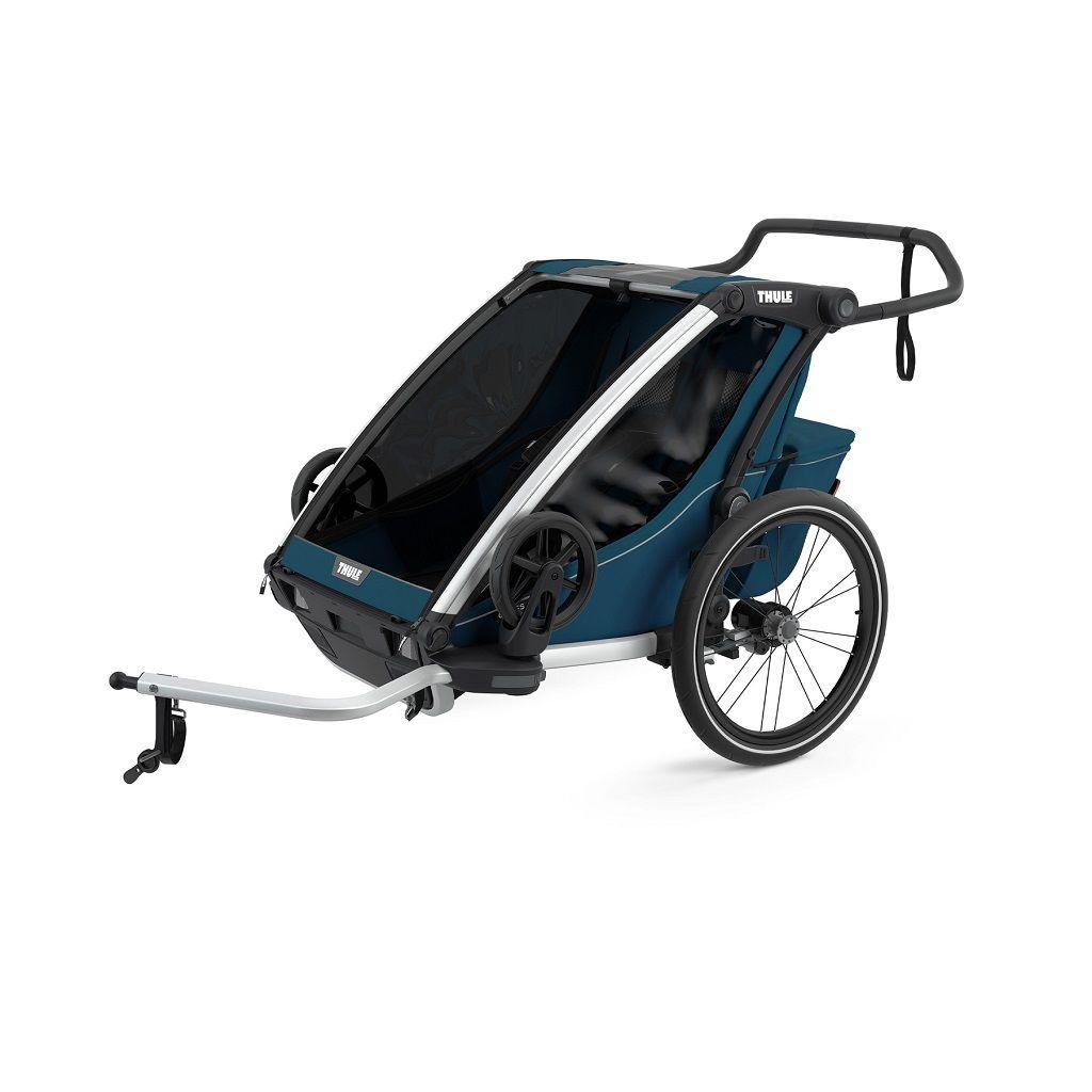 Thule Chariot Cross 2 plava sportska dječja kolica i prikolica za bicikl za dvoje djece (4u1)